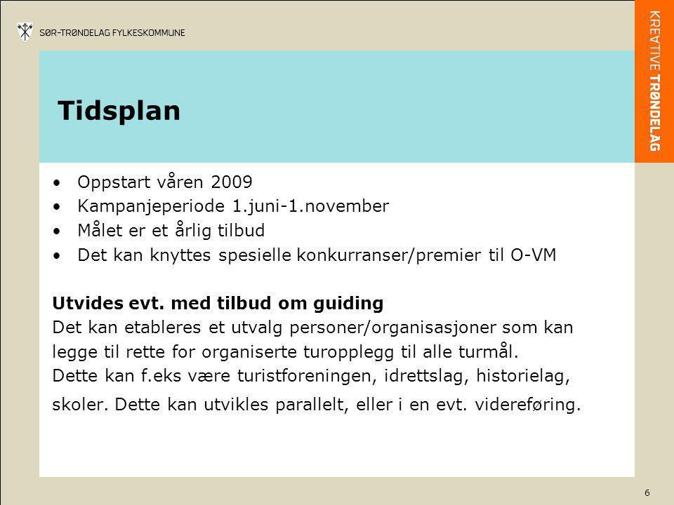 6 Tidsplan •Oppstart våren 2009 •Kampanjeperiode 1.juni-1.november •Målet er et årlig tilbud •Det kan knyttes spesielle konkurranser/premier til O-VM