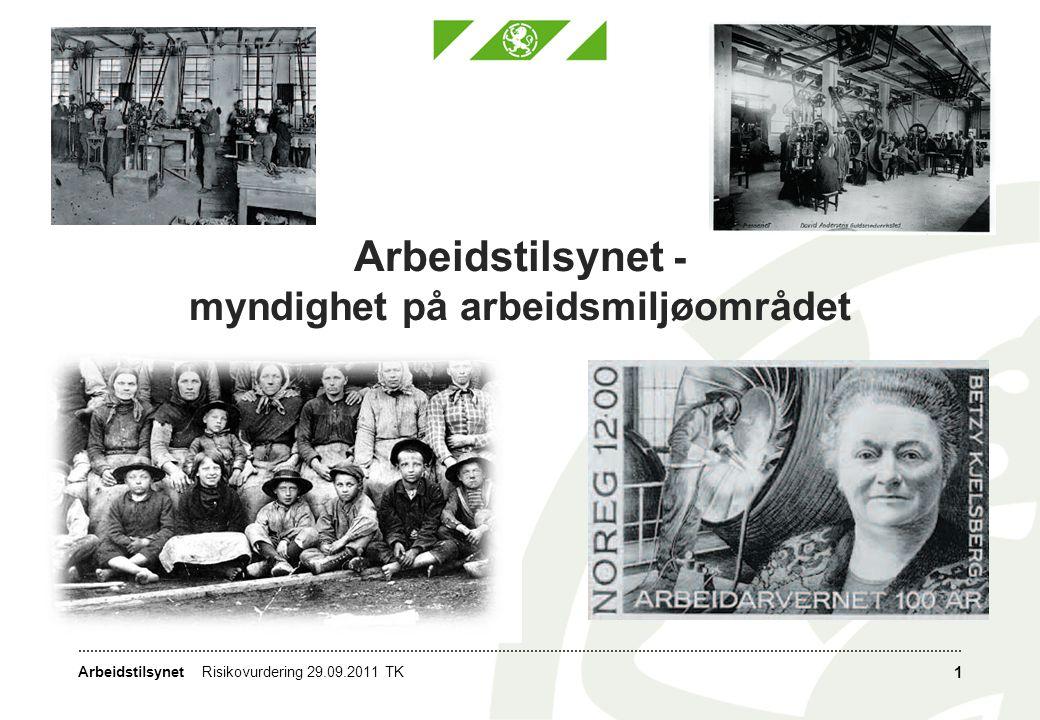 Arbeidstilsynet Arbeidstilsynet - myndighet på arbeidsmiljøområdet 1 Risikovurdering 29.09.2011 TK
