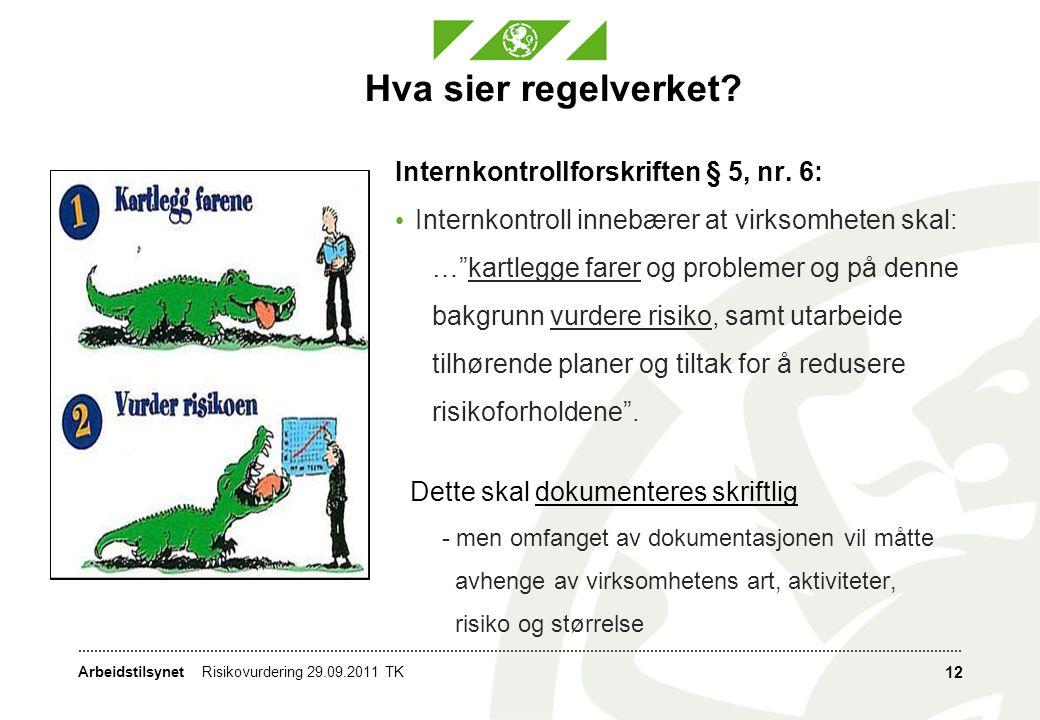 """Arbeidstilsynet Hva sier regelverket? Internkontrollforskriften § 5, nr. 6: • Internkontroll innebærer at virksomheten skal: …""""kartlegge farer og prob"""