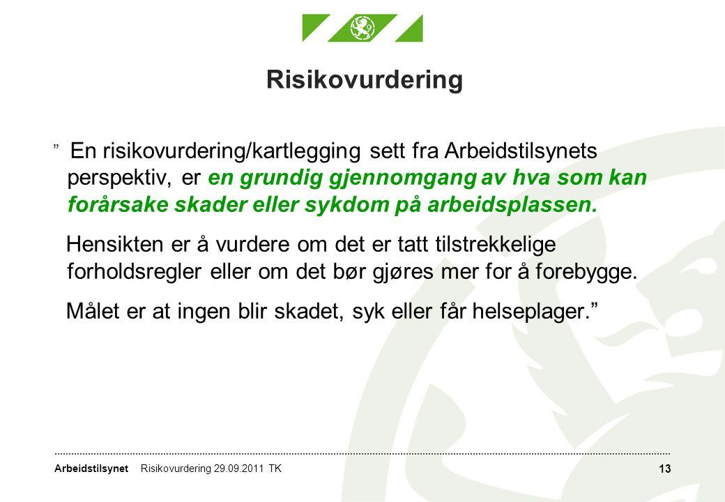 """Arbeidstilsynet Risikovurdering """" En risikovurdering/kartlegging sett fra Arbeidstilsynets perspektiv, er en grundig gjennomgang av hva som kan forårs"""