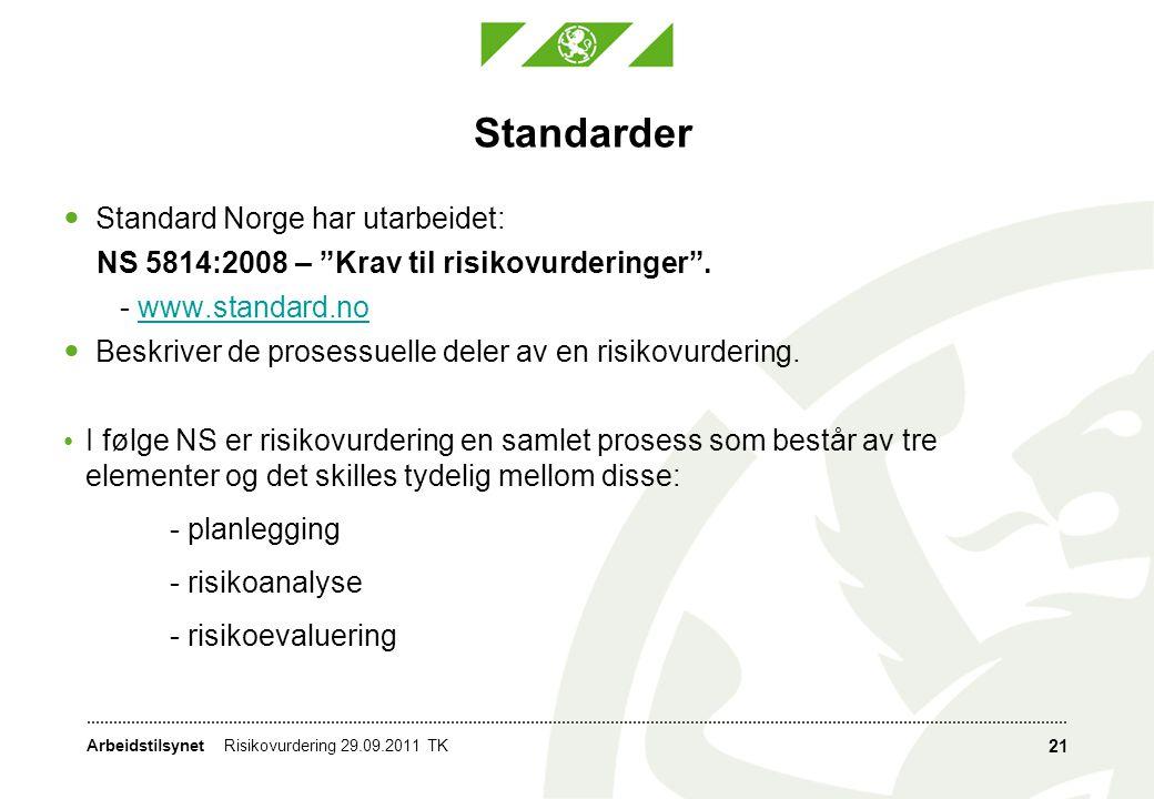 """Arbeidstilsynet Standarder  Standard Norge har utarbeidet: NS 5814:2008 – """"Krav til risikovurderinger"""". - www.standard.nowww.standard.no  Beskriver"""