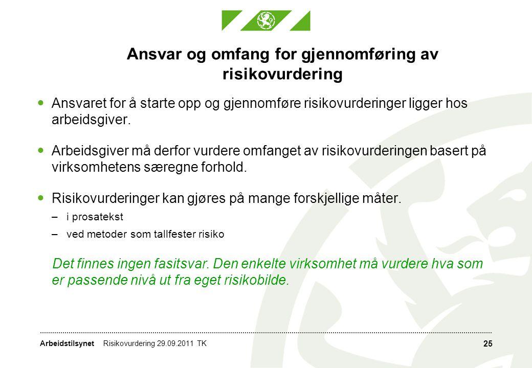 Arbeidstilsynet Ansvar og omfang for gjennomføring av risikovurdering  Ansvaret for å starte opp og gjennomføre risikovurderinger ligger hos arbeidsg