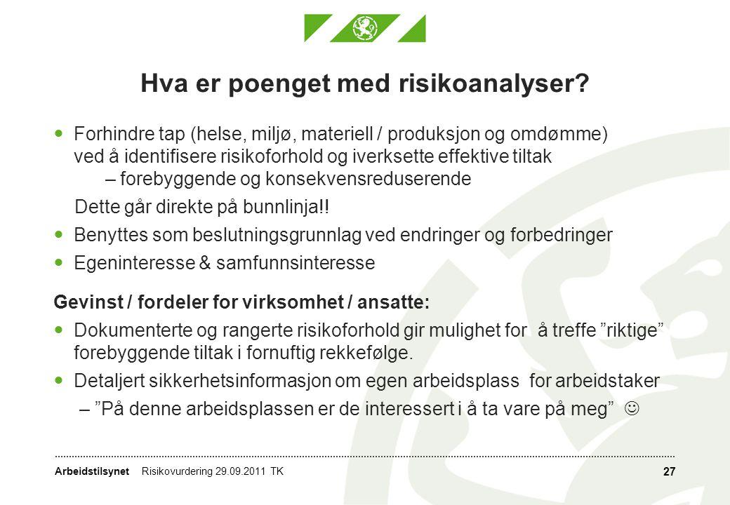 Arbeidstilsynet Hva er poenget med risikoanalyser?  Forhindre tap (helse, miljø, materiell / produksjon og omdømme) ved å identifisere risikoforhold