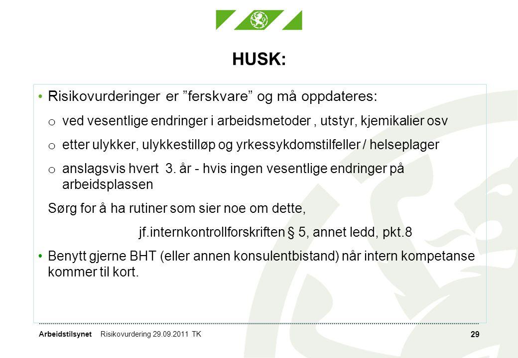 """ArbeidstilsynetRisikovurdering 29.09.2011 TK 29 HUSK: • Risikovurderinger er """"ferskvare"""" og må oppdateres: o ved vesentlige endringer i arbeidsmetoder"""