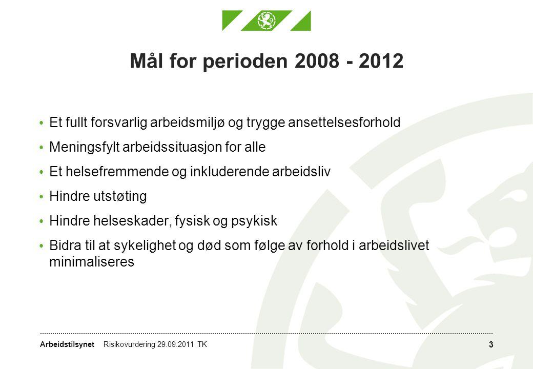 Arbeidstilsynet 3 Mål for perioden 2008 - 2012 • Et fullt forsvarlig arbeidsmiljø og trygge ansettelsesforhold • Meningsfylt arbeidssituasjon for alle