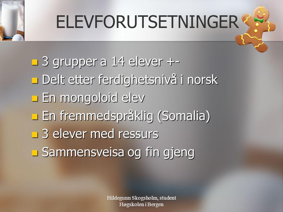 Hildegunn Skogsholm, student Høgskolen i Bergen ELEVFORUTSETNINGER  3 grupper a 14 elever +-  Delt etter ferdighetsnivå i norsk  En mongoloid elev