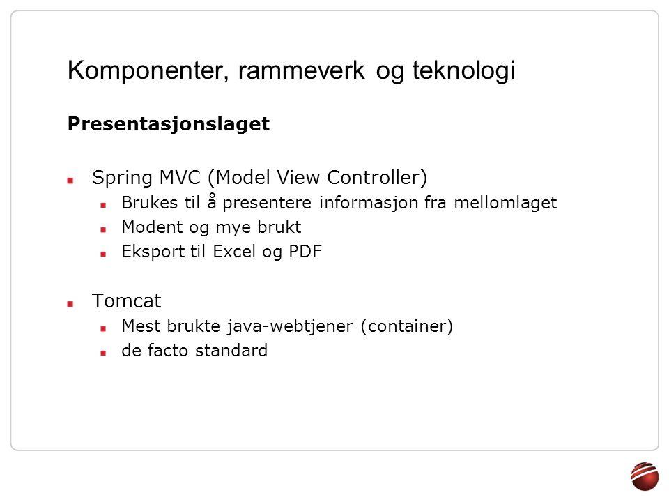 Komponenter, rammeverk og teknologi Presentasjonslaget Spring MVC (Model View Controller) Brukes til å presentere informasjon fra mellomlaget Modent o