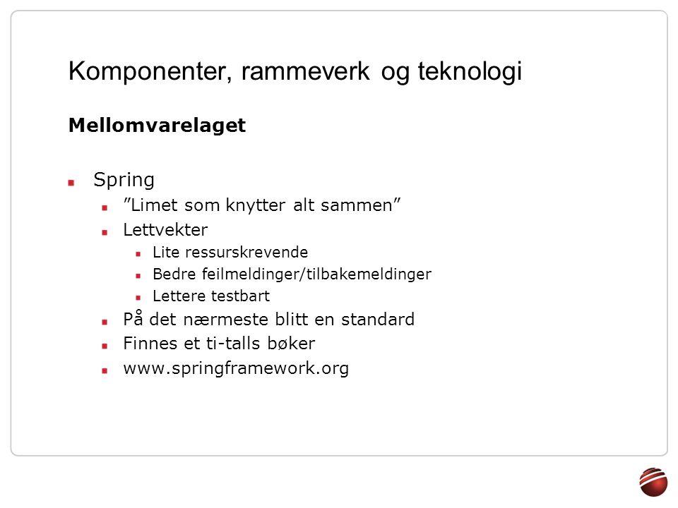 """Komponenter, rammeverk og teknologi Mellomvarelaget Spring """"Limet som knytter alt sammen"""" Lettvekter Lite ressurskrevende Bedre feilmeldinger/tilbakem"""