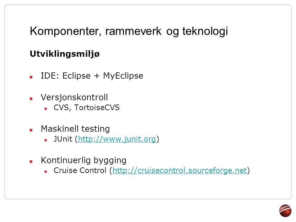 Komponenter, rammeverk og teknologi Utviklingsmiljø IDE: Eclipse + MyEclipse Versjonskontroll CVS, TortoiseCVS Maskinell testing JUnit (http://www.jun