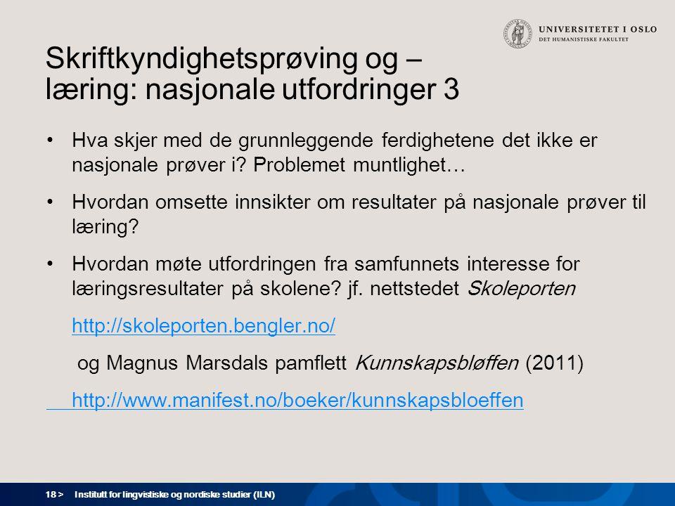 18 > Skriftkyndighetsprøving og – læring: nasjonale utfordringer 3 •Hva skjer med de grunnleggende ferdighetene det ikke er nasjonale prøver i? Proble