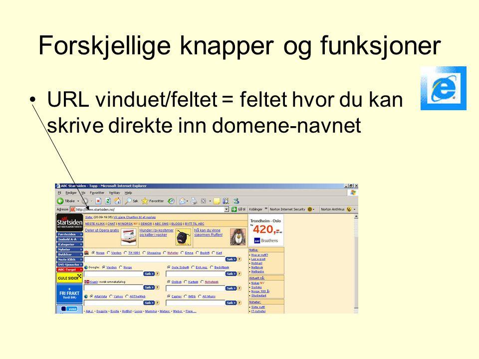 Forskjellige knapper og funksjoner •URL vinduet/feltet = feltet hvor du kan skrive direkte inn domene-navnet