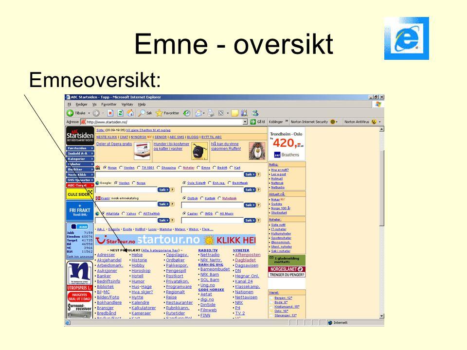 Emne - oversikt Emneoversikt: