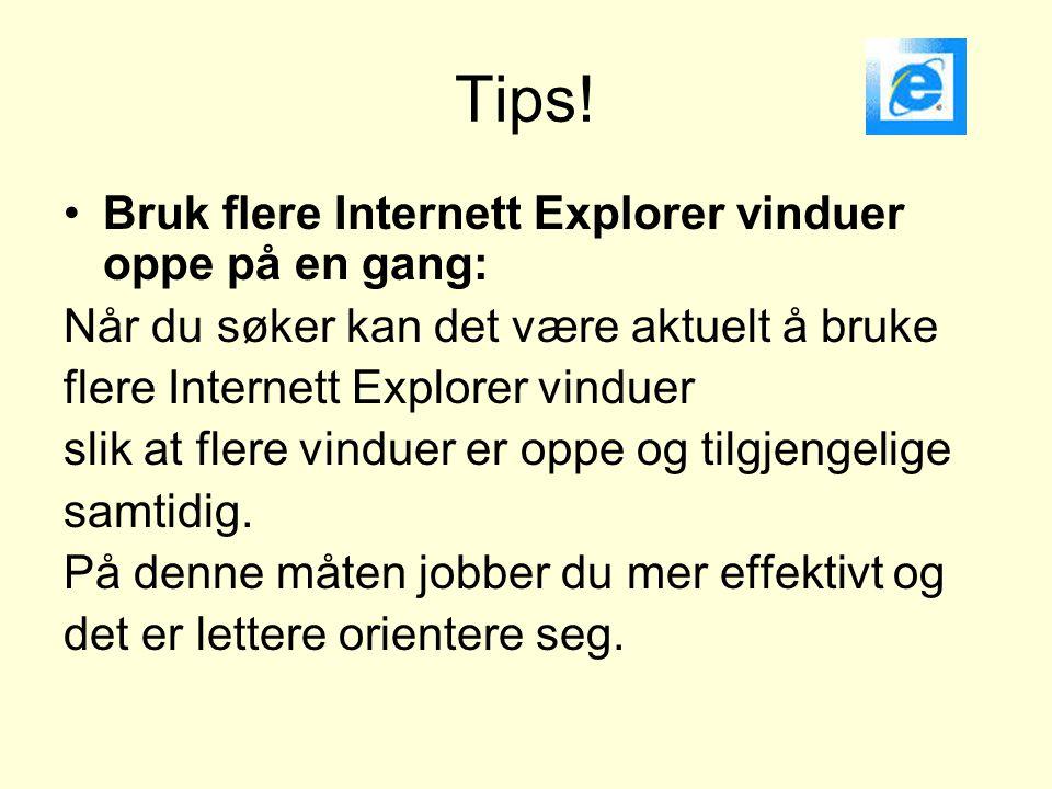 Tips! •Bruk flere Internett Explorer vinduer oppe på en gang: Når du søker kan det være aktuelt å bruke flere Internett Explorer vinduer slik at flere