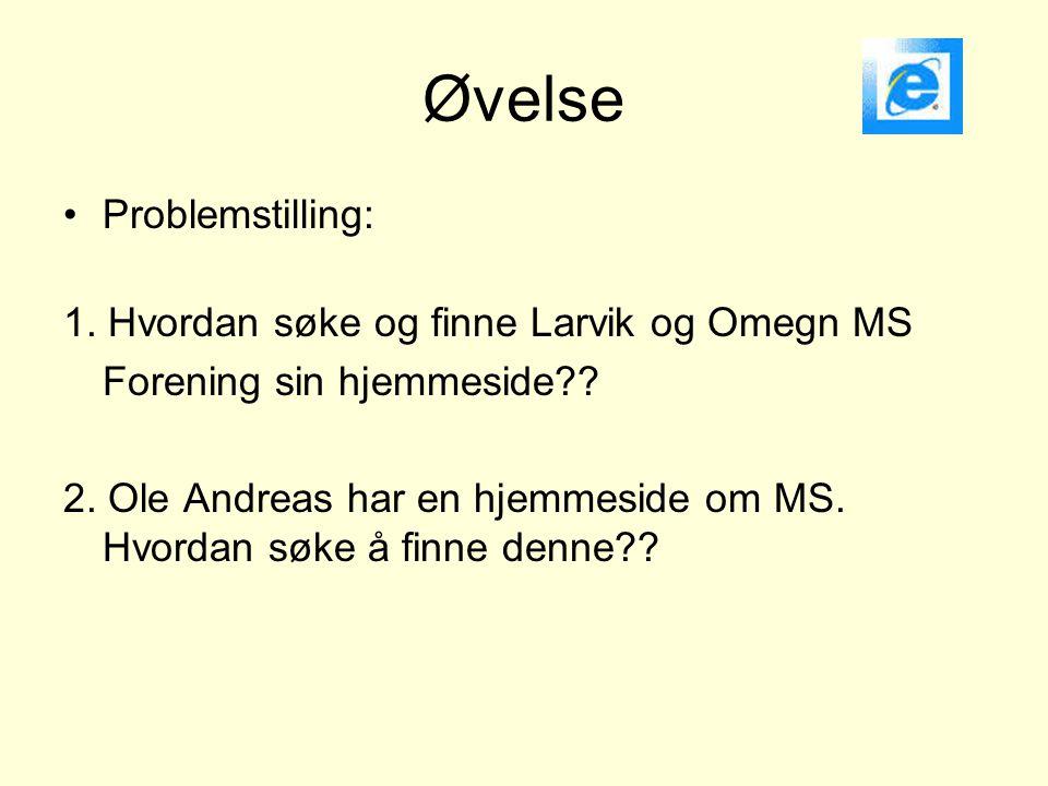 Øvelse •Problemstilling: 1. Hvordan søke og finne Larvik og Omegn MS Forening sin hjemmeside?? 2. Ole Andreas har en hjemmeside om MS. Hvordan søke å