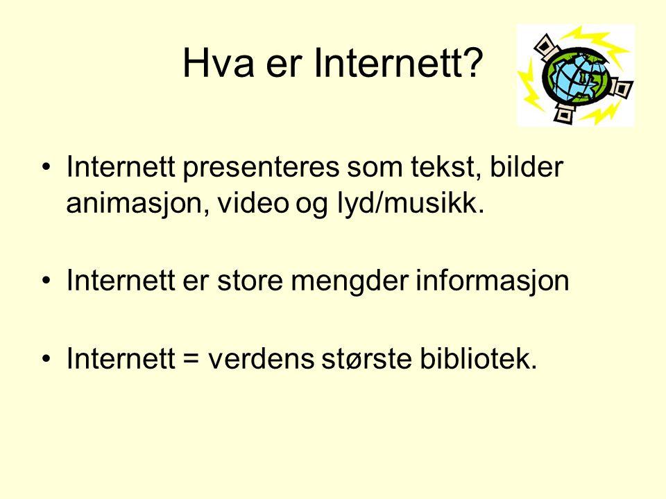 Hva er Internett? •Internett presenteres som tekst, bilder animasjon, video og lyd/musikk. •Internett er store mengder informasjon •Internett = verden