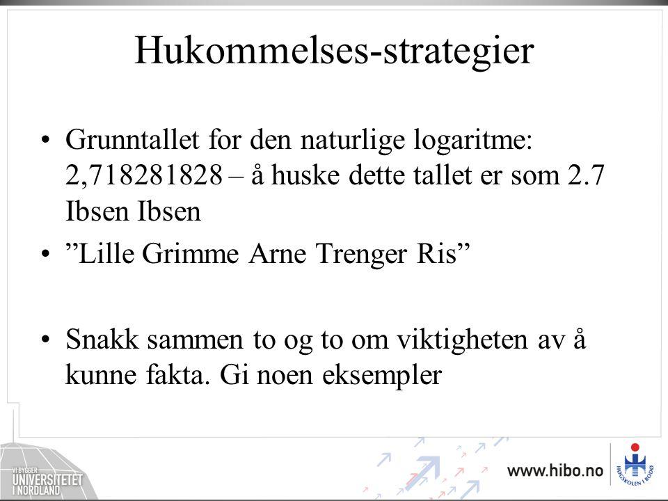 """Hukommelses-strategier •Grunntallet for den naturlige logaritme: 2,718281828 – å huske dette tallet er som 2.7 Ibsen Ibsen •""""Lille Grimme Arne Trenger"""