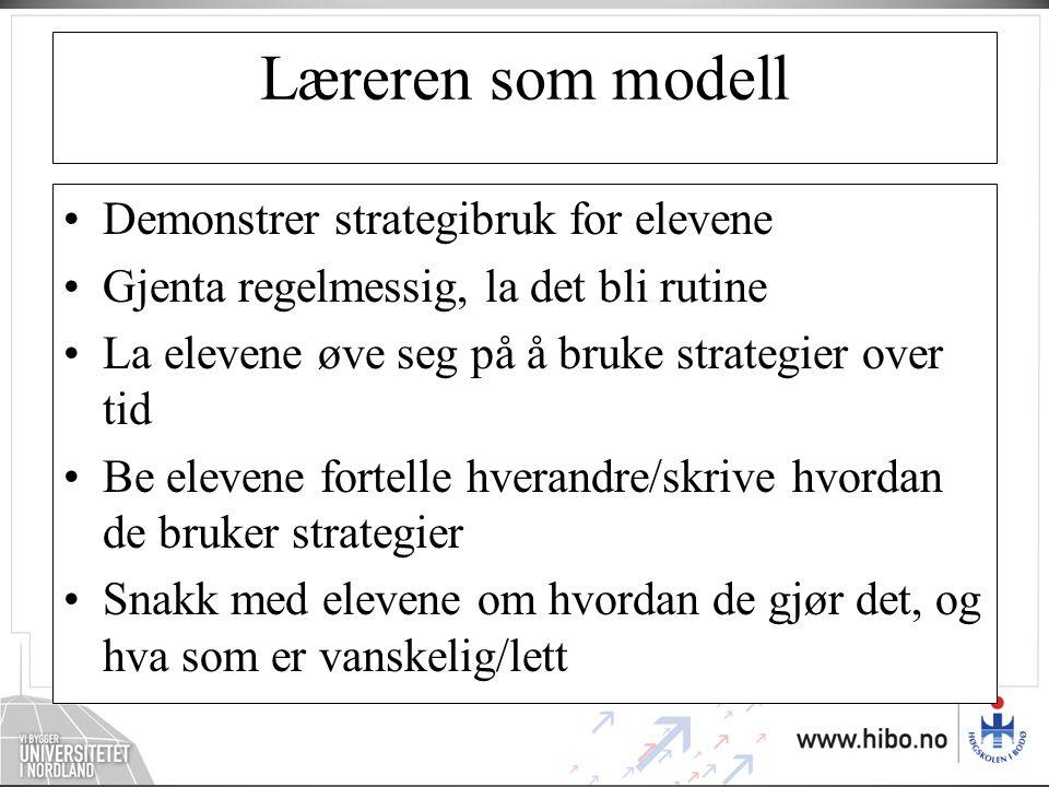 Læreren som modell •Demonstrer strategibruk for elevene •Gjenta regelmessig, la det bli rutine •La elevene øve seg på å bruke strategier over tid •Be