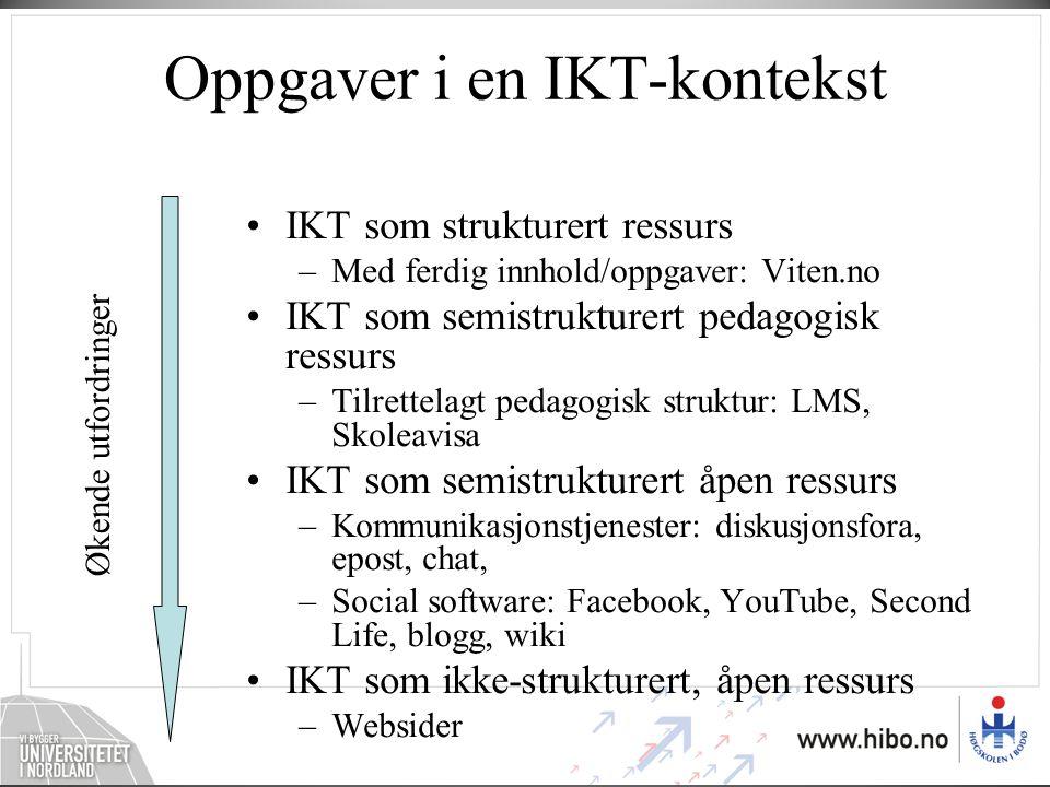 Oppgaver i en IKT-kontekst •IKT som strukturert ressurs –Med ferdig innhold/oppgaver: Viten.no •IKT som semistrukturert pedagogisk ressurs –Tilrettela
