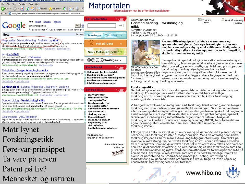 Mattilsynet Forskningsetikk Føre-var-prinsippet Ta vare på arven Patent på liv? Mennesket og naturen Litt selektiv vinkling?