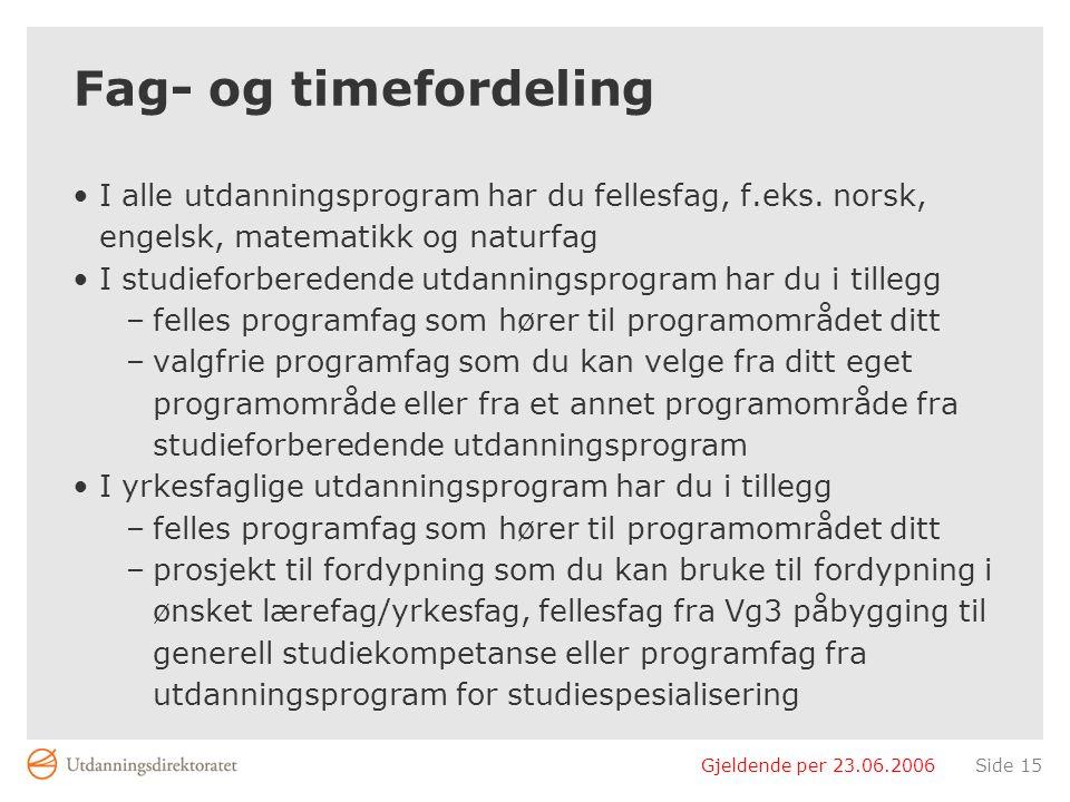 Gjeldende per 23.06.2006Side 15 Fag- og timefordeling •I alle utdanningsprogram har du fellesfag, f.eks.