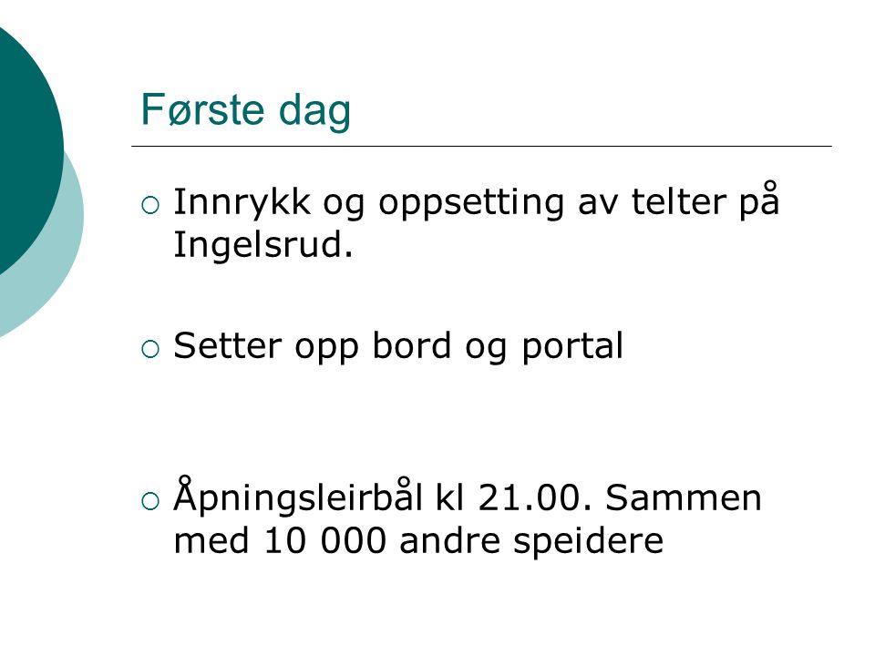 Første dag  Innrykk og oppsetting av telter på Ingelsrud.  Setter opp bord og portal  Åpningsleirbål kl 21.00. Sammen med 10 000 andre speidere
