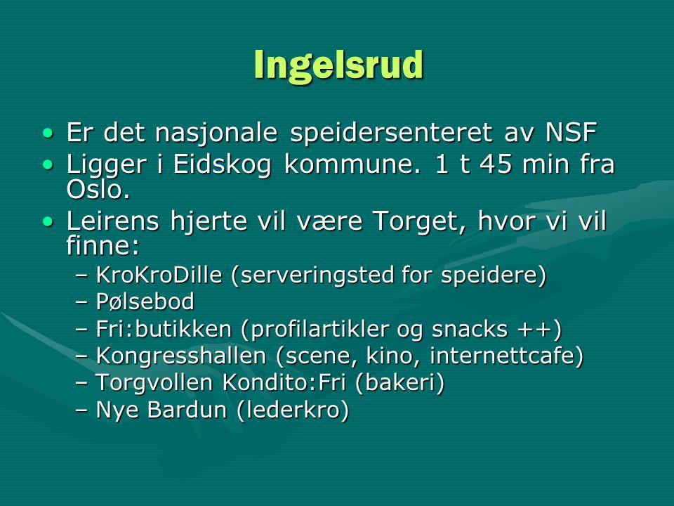 Ingelsrud •Er det nasjonale speidersenteret av NSF •Ligger i Eidskog kommune. 1 t 45 min fra Oslo. •Leirens hjerte vil være Torget, hvor vi vil finne: