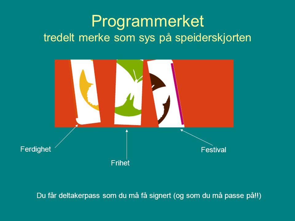 Programmerket tredelt merke som sys på speiderskjorten Ferdighet Frihet Festival Du får deltakerpass som du må få signert (og som du må passe på!!)