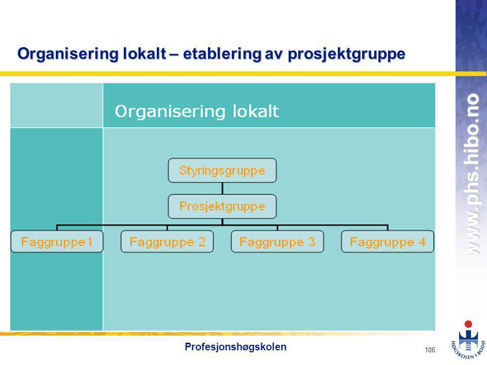 OMJ-98 www.phs.hibo.no 107 Profesjonshøgskolen Ferdighetskartlegging – seksjonsvis