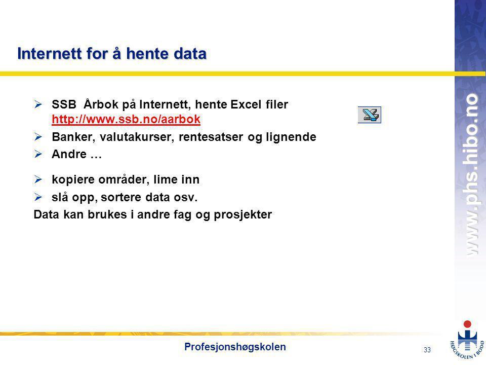 OMJ-98 www.phs.hibo.no 33 Profesjonshøgskolen Internett for å hente data  SSB Årbok på Internett, hente Excel filer http://www.ssb.no/aarbok http://www.ssb.no/aarbok  Banker, valutakurser, rentesatser og lignende  Andre …  kopiere områder, lime inn  slå opp, sortere data osv.