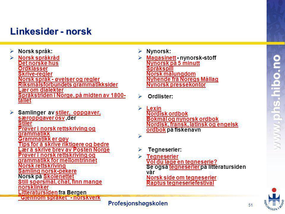 OMJ-98 www.phs.hibo.no 52 Profesjonshøgskolen Digital kompetanse i ENGELSK