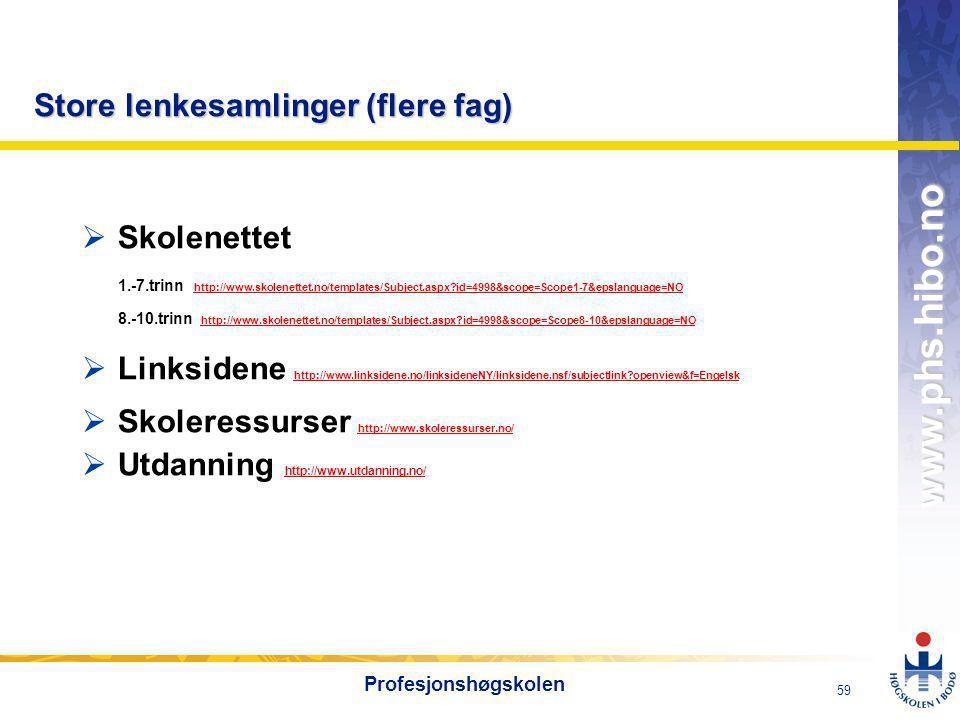 OMJ-98 www.phs.hibo.no 59 Profesjonshøgskolen Store lenkesamlinger (flere fag)  Skolenettet 1.-7.trinn http://www.skolenettet.no/templates/Subject.aspx?id=4998&scope=Scope1-7&epslanguage=NO http://www.skolenettet.no/templates/Subject.aspx?id=4998&scope=Scope1-7&epslanguage=NO 8.-10.trinn http://www.skolenettet.no/templates/Subject.aspx?id=4998&scope=Scope8-10&epslanguage=NO http://www.skolenettet.no/templates/Subject.aspx?id=4998&scope=Scope8-10&epslanguage=NO  Linksidene http://www.linksidene.no/linksideneNY/linksidene.nsf/subjectlink?openview&f=Engelsk http://www.linksidene.no/linksideneNY/linksidene.nsf/subjectlink?openview&f=Engelsk  Skoleressurser http://www.skoleressurser.no/ http://www.skoleressurser.no/  Utdanning http://www.utdanning.no/ http://www.utdanning.no/