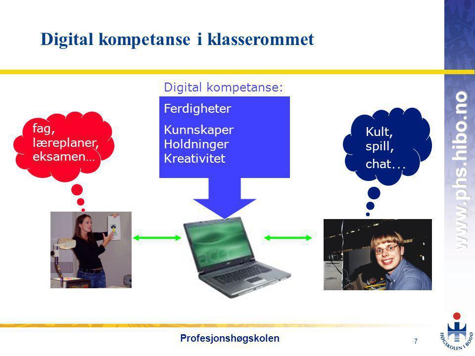 OMJ-98 www.phs.hibo.no 7 Profesjonshøgskolen Kult, spill, chat … fag, læreplaner, eksamen… Digital kompetanse: Ferdigheter Kunnskaper Holdninger Kreativitet Digital kompetanse i klasserommet