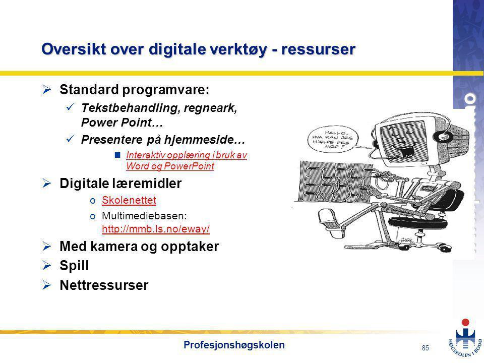 OMJ-98 www.phs.hibo.no 85 Profesjonshøgskolen Oversikt over digitale verktøy - ressurser  Standard programvare:  Tekstbehandling, regneark, Power Point…  Presentere på hjemmeside… nInteraktiv opplæring i bruk av Word og PowerPointInteraktiv opplæring i bruk av Word og PowerPoint  Digitale læremidler oSkolenettetSkolenettet oMultimediebasen: http://mmb.ls.no/eway/ http://mmb.ls.no/eway/  Med kamera og opptaker  Spill  Nettressurser