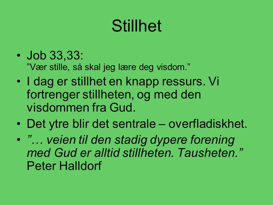 Stillhet •J•Job 33,33: Vær stille, så skal jeg lære deg visdom. •I•I dag er stillhet en knapp ressurs.