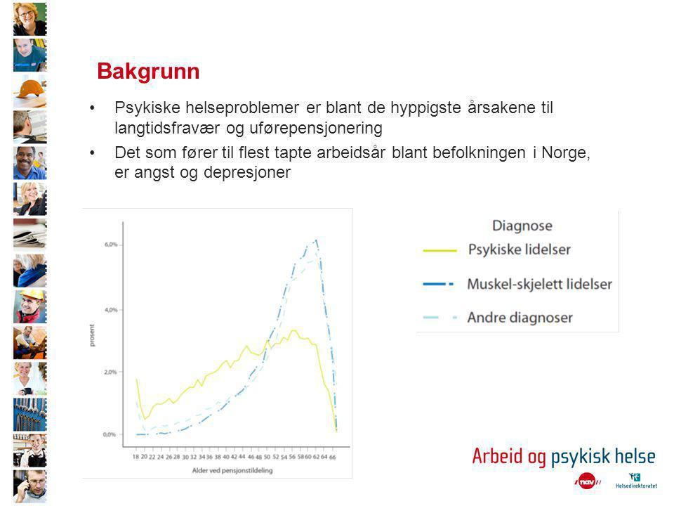 Bakgrunn •Psykiske helseproblemer er blant de hyppigste årsakene til langtidsfravær og uførepensjonering •Det som fører til flest tapte arbeidsår blant befolkningen i Norge, er angst og depresjoner