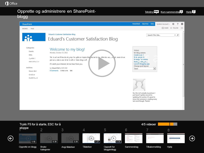 5 7 61234 Kurs sammendrag 8 Hjelp Opprette og administrere en SharePoint- blogg Trykk F5 for å starte, ESC for å stoppe 4/5 videoer 1:180:392:201:27 N
