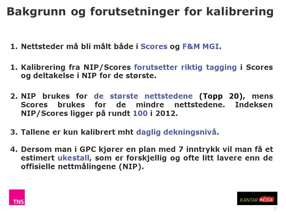 5 Bakgrunn og forutsetninger for kalibrering 1.Nettsteder må bli målt både i Scores og F&M MGI.