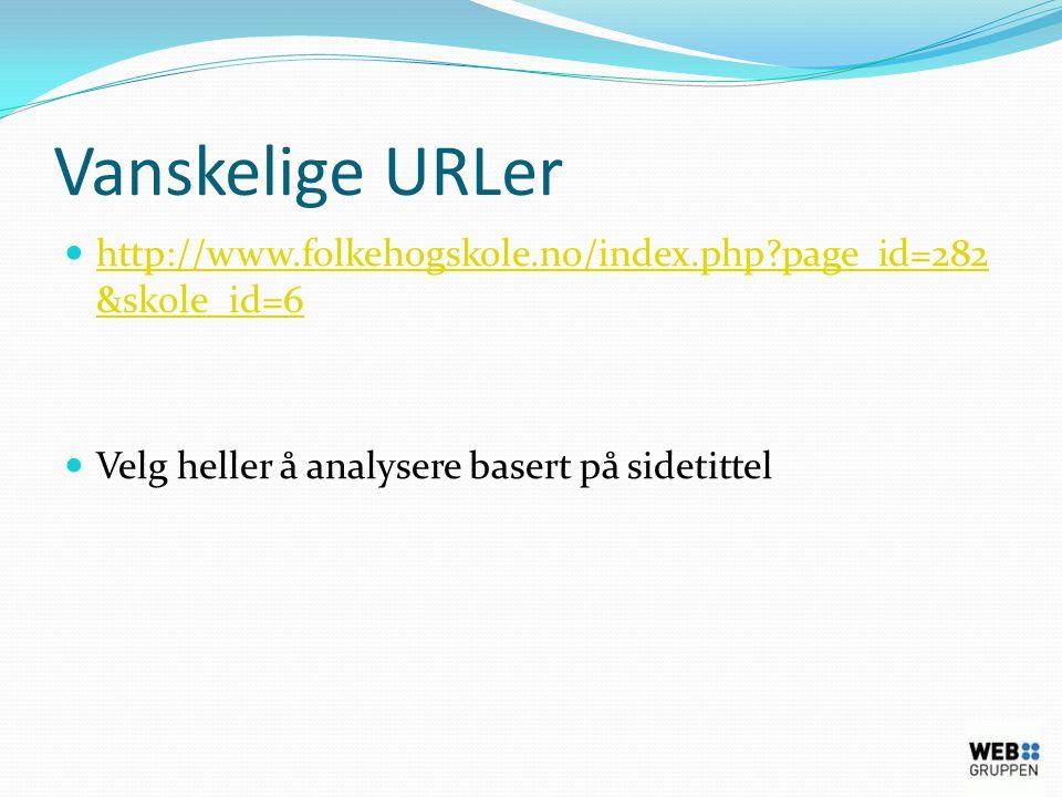 Vanskelige URLer  http://www.folkehogskole.no/index.php page_id=282 &skole_id=6 http://www.folkehogskole.no/index.php page_id=282 &skole_id=6  Velg heller å analysere basert på sidetittel