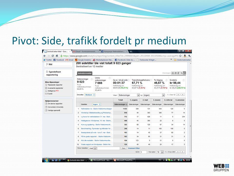 Pivot: Side, trafikk fordelt pr medium