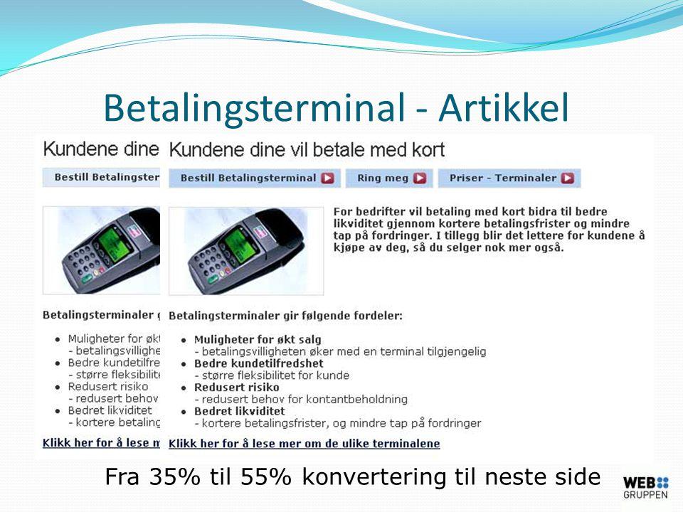Betalingsterminal - Artikkel Fra 35% til 55% konvertering til neste side