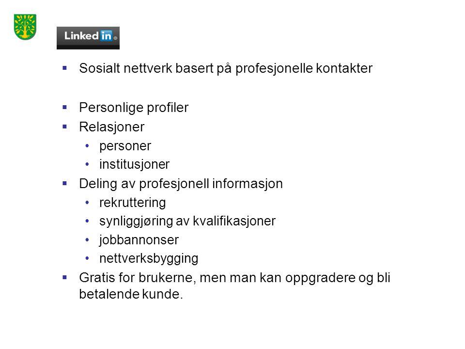  Sosialt nettverk basert på profesjonelle kontakter  Personlige profiler  Relasjoner •personer •institusjoner  Deling av profesjonell informasjon