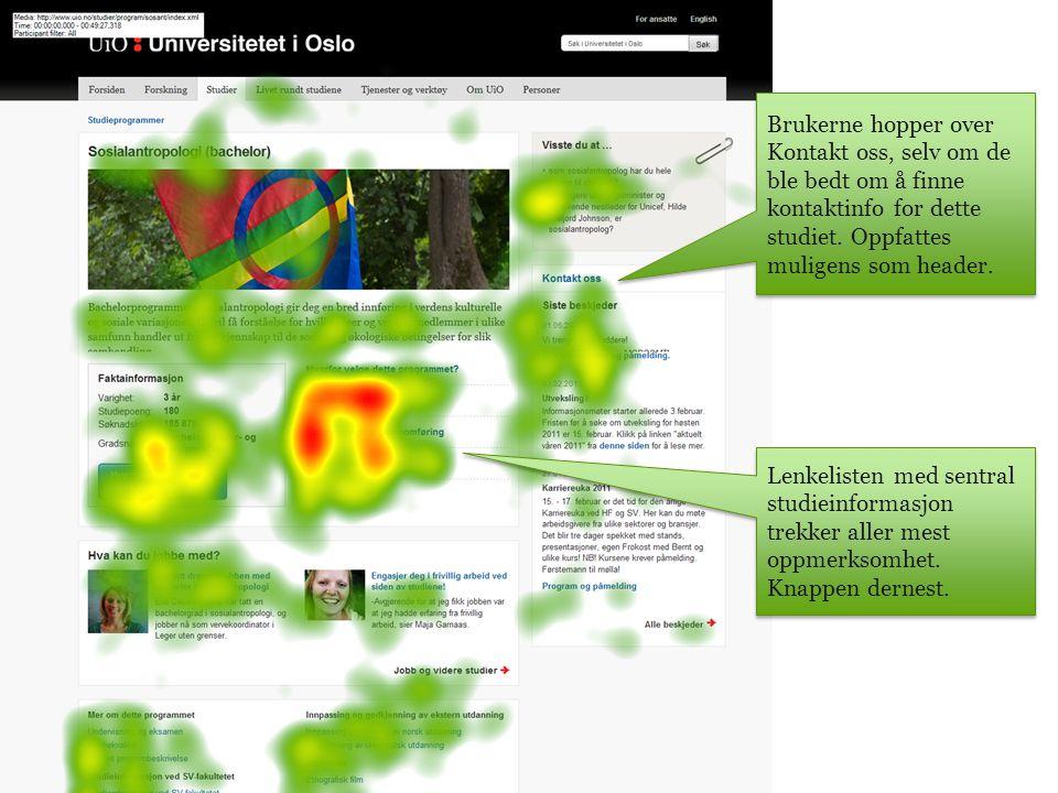Lenkelisten med sentral studieinformasjon trekker aller mest oppmerksomhet.