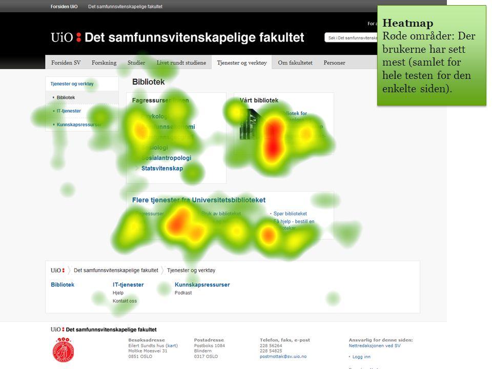 Heatmap Røde områder: Der brukerne har sett mest (samlet for hele testen for den enkelte siden).