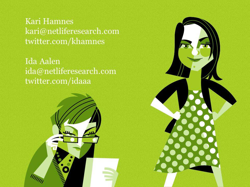 Kari Hamnes kari@netliferesearch.com twitter.com/khamnes Ida Aalen ida@netliferesearch.com twitter.com/idaaa