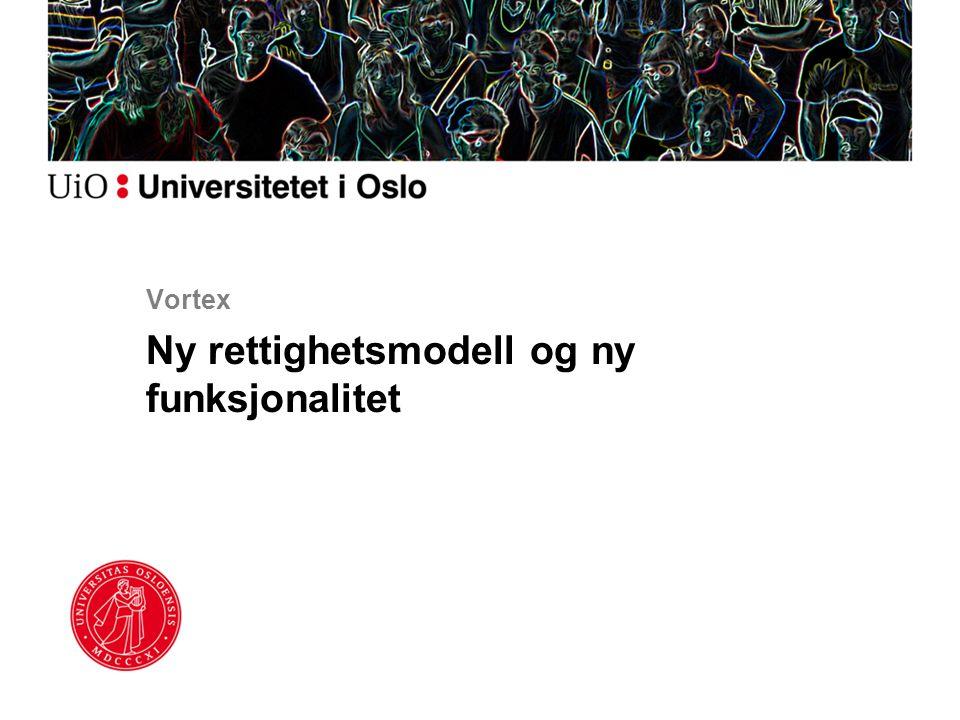 Vortex Ny rettighetsmodell og ny funksjonalitet
