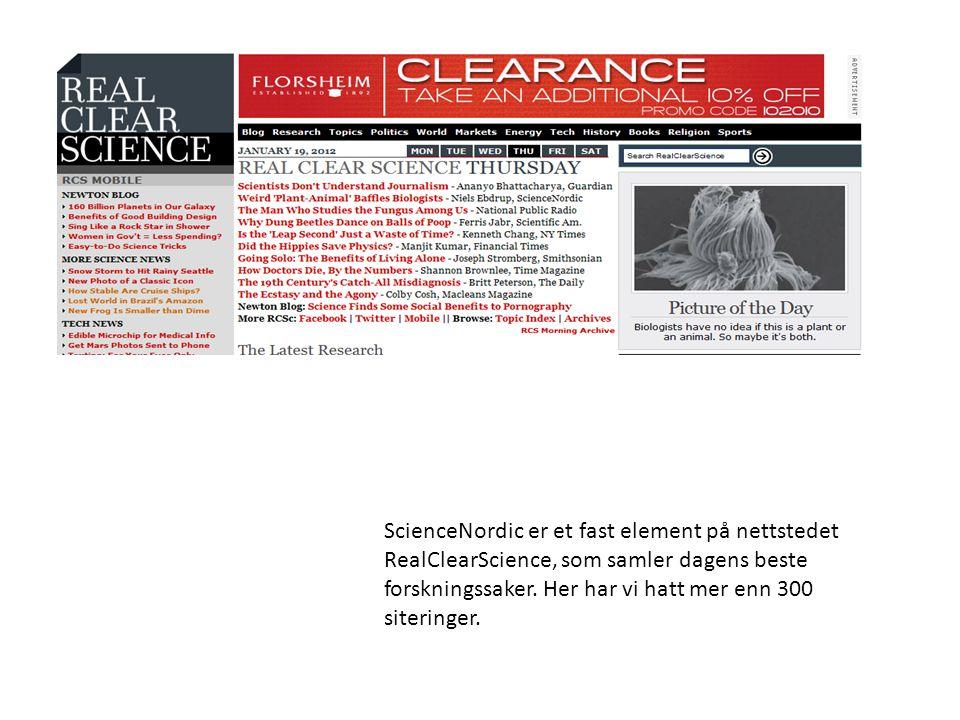 ScienceNordic er et fast element på nettstedet RealClearScience, som samler dagens beste forskningssaker.
