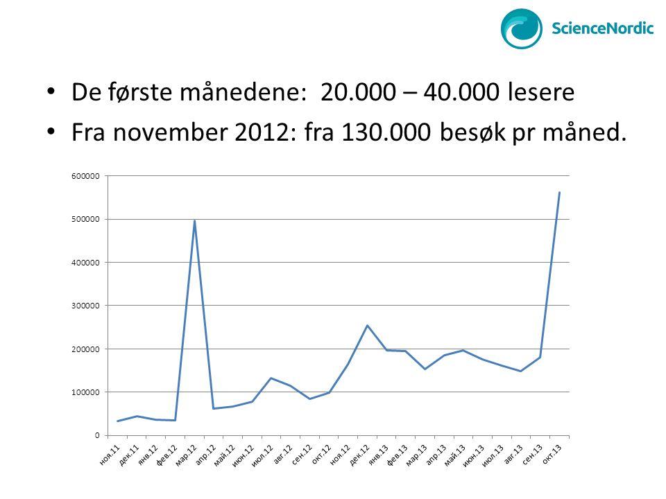 • De første månedene: 20.000 – 40.000 lesere • Fra november 2012: fra 130.000 besøk pr måned.
