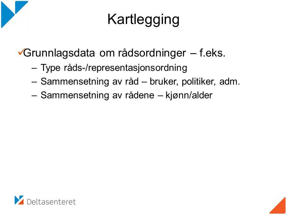 Kartlegging  Grunnlagsdata om rådsordninger – f.eks.
