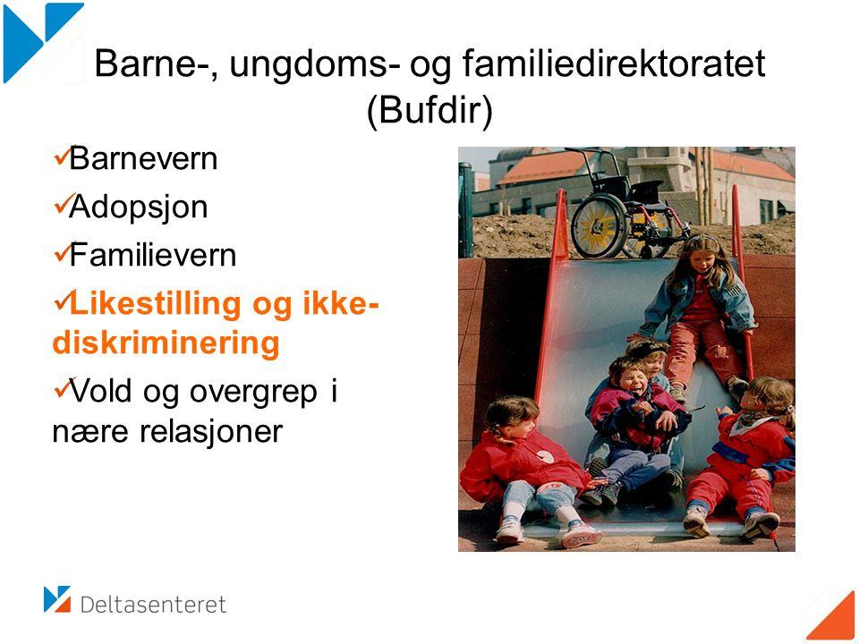 Barne-, ungdoms- og familiedirektoratet (Bufdir)  Barnevern  Adopsjon  Familievern  Likestilling og ikke- diskriminering  Vold og overgrep i nære relasjoner