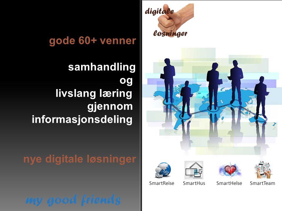 gode 60+ venner samhandling og livslang læring gjennom informasjonsdeling nye digitale løsninger SmartReiseSmartHusSmartHelseSmartTeam